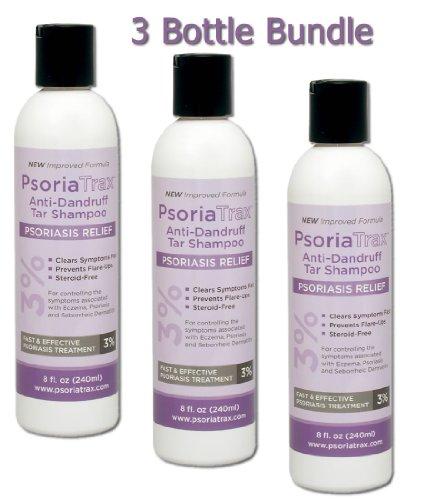 Le shampooing au goudron Psoriatrax 8 oz 15% de goudron de houille Solution - l'équivalent de 3% de goudron de houille (Ensemble de 3 bouteilles)