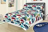 Full 3 Piece Bed Set Bedding Quilt Bedspread, Car Truck Plane Boat Semi Automobile