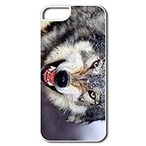 IPhone 5 Cases, Mad Wolf Case For IPhone 5 5S - White Hard Plastic