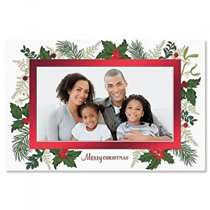 deluxe holly photo sleeve christmas cards set of 18 holiday greeting cards - Deluxe Christmas Cards