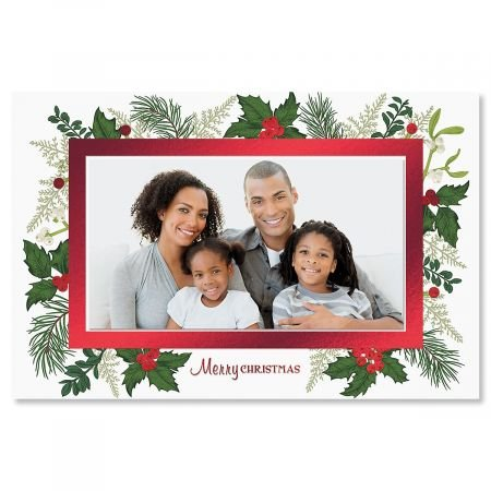 Deluxe Christmas Cards Set - Deluxe Holly Photo Sleeve Christmas Cards- Set of 18 Holiday Greeting Cards