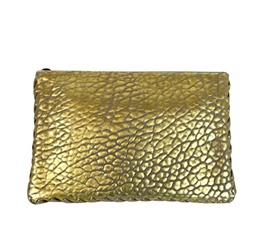 With Bottega Leather Veneta Trim 256400 Pouch Clutch Gold Woven 1516 Bag YSaYx