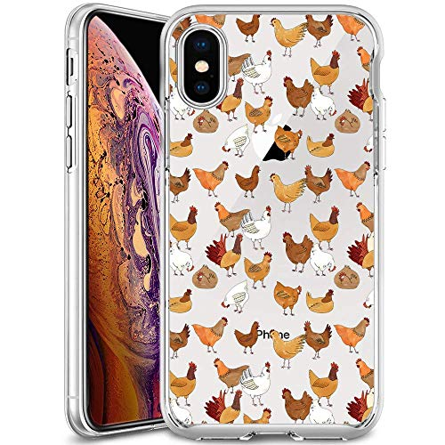 iPhone Xs Max Case Chicken Pattern Crystal Print Soft Super Silm Clear Case iPhone Xs Max Scratch-Proof Protective Cover (Chicken Scratch Patterns)