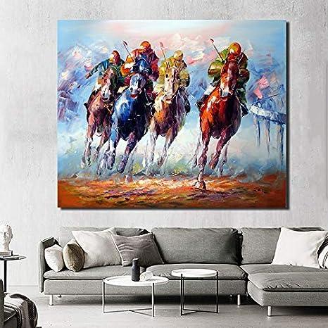 N / A Pintura sin Marco Arte Cuatro Valiente Soldado y Caballo Lienzo Impermeable Imagen Impermeable Moderno muralZGQ11164 50x62cm