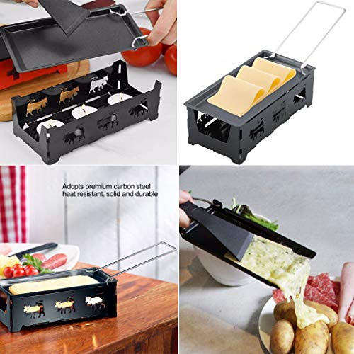 Jiechu Nordic Foldable Candlelight Raclette/Raclette Grill, Non-Stick Grill Plate, Great for a Family Get Together or Party, Frying Pan Cheese Skillet Nonstick Grill Cast Iron Carbon Steel Ki (Black)