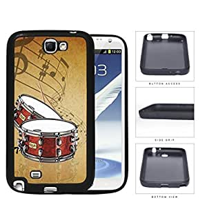 Drums And Musical Notes Brown Grunge Rubber Silicone TPU Cell Phone Case Samsung Galaxy Note 2 II N7100Kimberly Kurzendoerfer