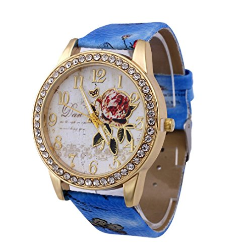 (Hotsale! Wensltd Women Leather Band Analog Quartz Business Wrist Watch Rose Flower Pattern (Blue))