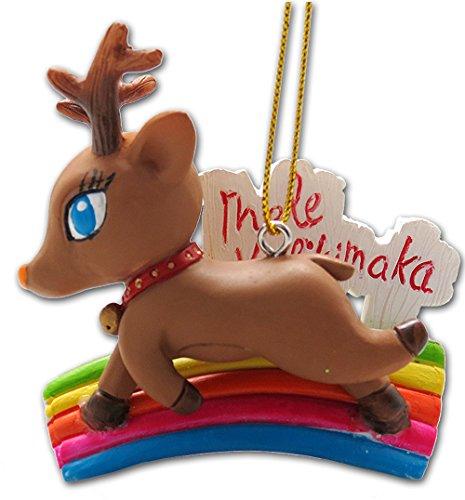 KC Hawaii Mele Kalikimaka Reindeer Ornament 2.25 X 3 inch
