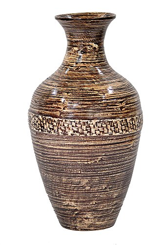 Heather Ann Creations W33954-BW Crafted Classic Large Water Jug Spun Bamboo Vase, Black/Natural with Wicker