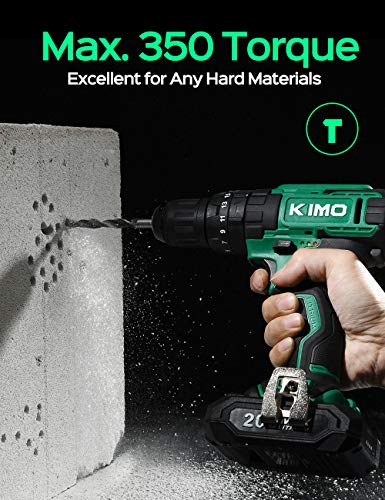 KIMO Cordless Drill Driver Kit, 20V Impact Drill Set w/Lithium-ion Battery/Charger & Cleaning Brush, 350 In-lb Torque, 3… 3