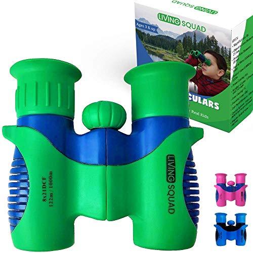 Living Squad Kids Binoculars 8x21 Shock Proof - High Resolution Compact Binoculars Set with Real...