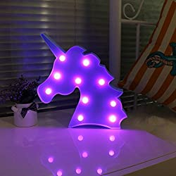 DELICORE Blue Unicorn Head Purple Emitting Led Night Light Animal Shape Marquee LED Lamps Kids Children Bedroom Decortive Table Lamps Party Wedding Indoor Mood Lighting