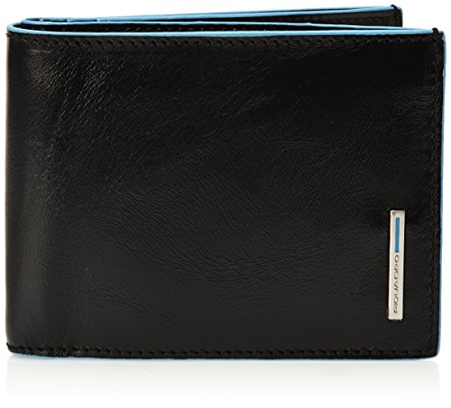 Piquadro Leather Man's Wallet with 12 Credit Card Slots, Black, One Size by Piquadro