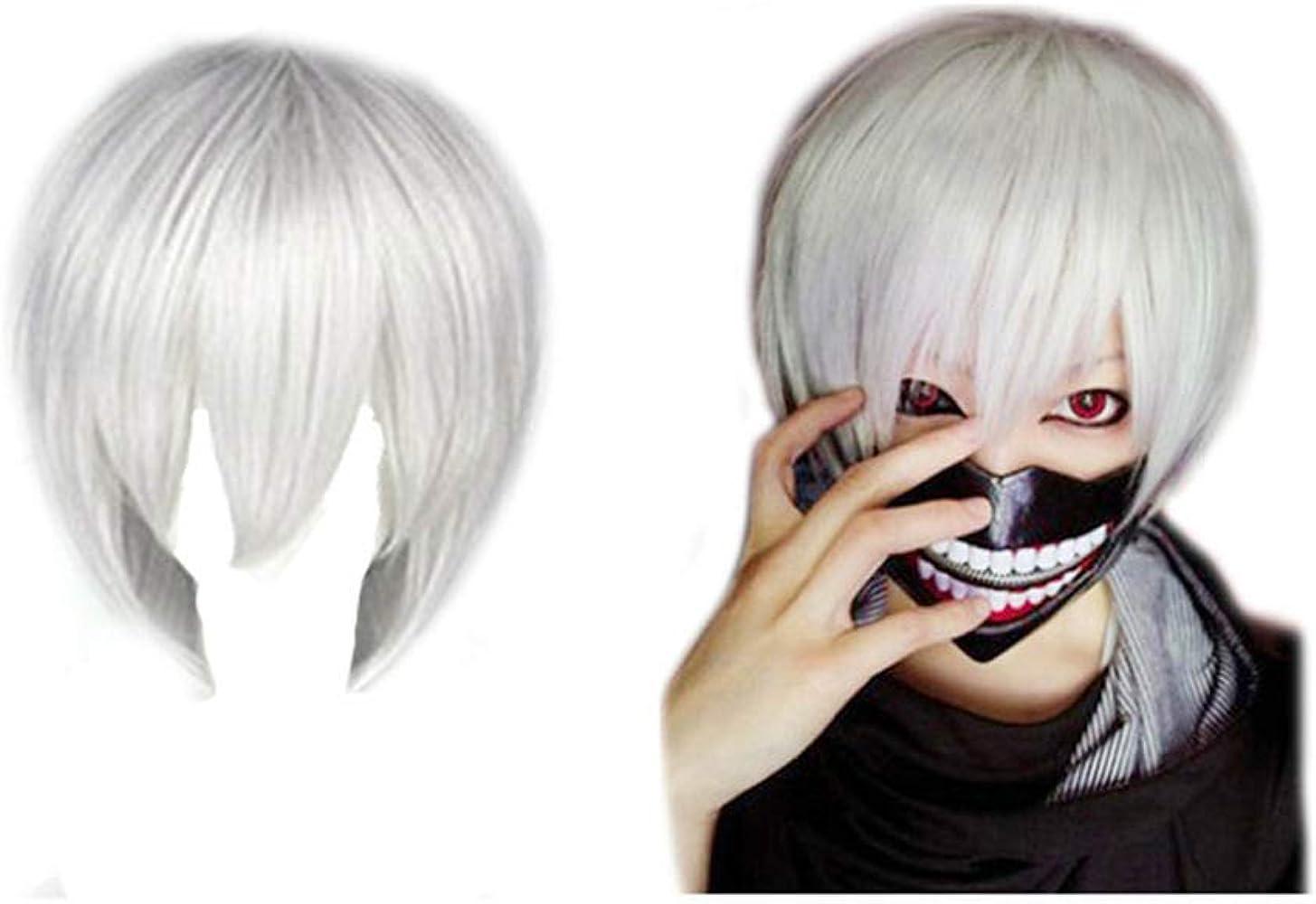 Máscara + peluca blanca Tokyo Ghoul Kaneki Ken: Amazon.es: Ropa y ...