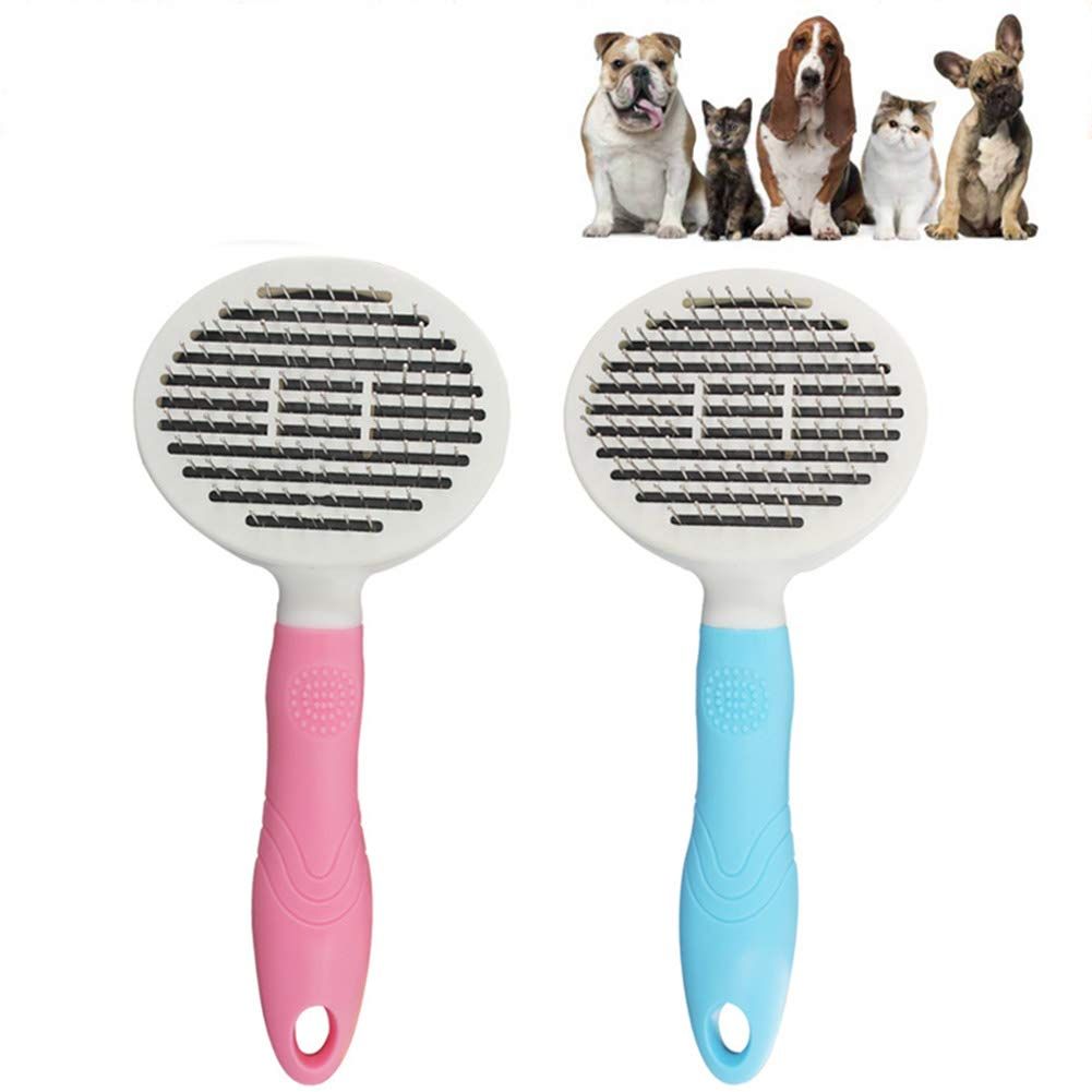 JIGAN Pet Comb, Self Cleaning Pet Brush, Cats Dogs Brush, for Small, Medium & Large Dogs & Cats with Short to Long Hair 2 Pcs