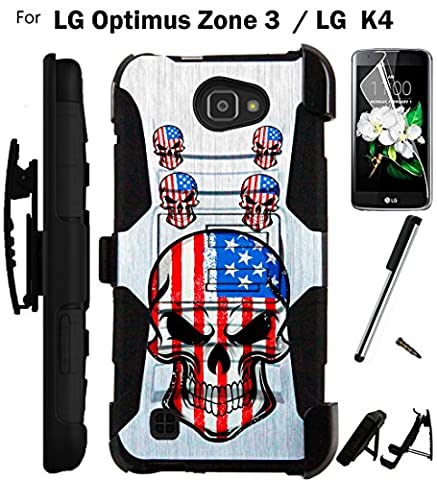 [WORLD ACC®] For LG Optimus Zone 3 / LG K4 Case VS425 Armor Hybrid Rugged Silicone Phone Cover Kick Stand LuxGuard Holster+LCD Screen Protector+Stylus (US Skull (Lg Optimus Cell Phone Holster)