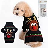 Bolbove Pet Cartoon Reindeer Cable Knit Turtleneck Sweater for Cats & Small to Medium Dogs Holiday Knitwear Cold Weather Outfit (Large)