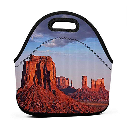 (Convenient Lunch Box Tote Bag Apartment Decor Collection,Monument Valley Utah USA Sandstone Natural Environment Cloudscape Picture,Brown Blue Grey,tiny lunch bag for)