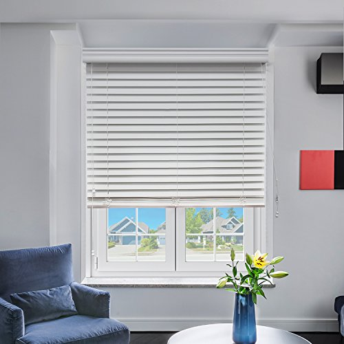 Wood Venetian Blinds (Chicology Real Wood Blinds / window horizontal 2-inch venetian slat, Real Wood, Variable Light Control - Azalia, 29