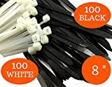Industrial Zip Ties Heavy Duty 8 inch, Plastic Cable Ties Black/White with 100% UV Stabilized Nylon 6/6, with Strong 50 Lb Tensile Strength. Use it in Indoor and Outdoor applications (Set 200 pcs)