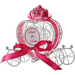 Transer Metal Candy Box Party Wedding Favors Boxes Romantic Carriage Sweets Chocolate Box (Hot Pink)