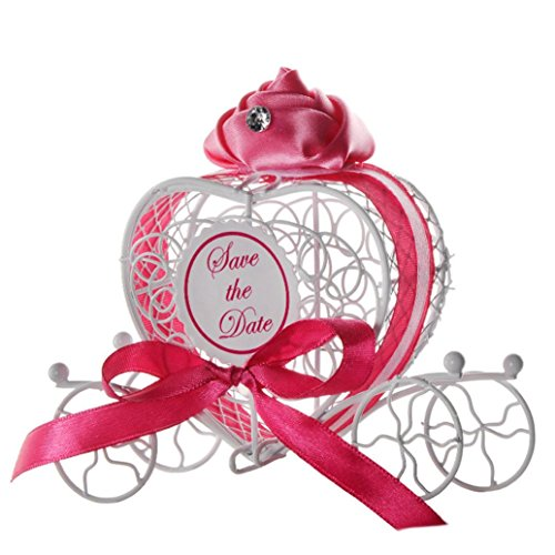 Transer Metal Candy Box Party Wedding Favors Boxes Romantic Carriage Sweets Chocolate Box (Hot Pink) ()