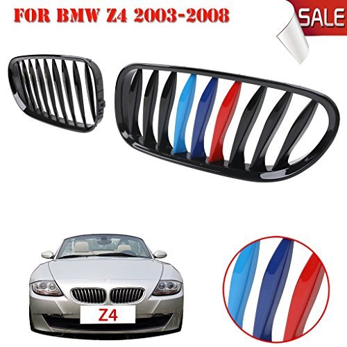 Jade Onlines 1 Pair Gloss Black + M-color Front Kidney Grille Grill For BMW E85/E86 Z4 2003-2008 Convertible & - Grill Front Fiberglass
