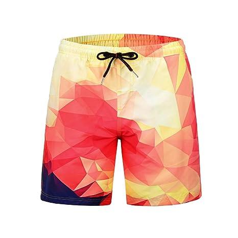 HMKYYJ Hombres de la Moda Color Degradado Pantalones Cortos de ...