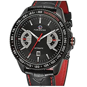 HWCOO Mini Focus Relojes de Pulsera FORSINING Hombre Reloj de Pulsera Reloj de Moda Cuerda Automática Calendario Piel Banda Casual Cool Negro (Color ...