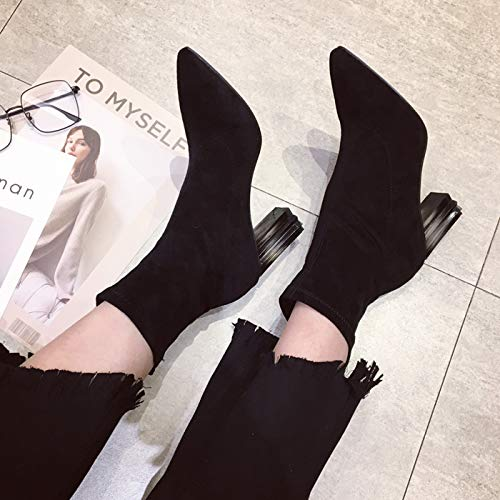 HBDLH HBDLH HBDLH Damenschuhe Schuhe Schuhe 5 cm Hoch Dicke Schuhe Mit Stiefeln Spitze 100 - Sets Dünne Stiefel f125cf