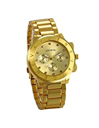 JewelryWe Newest Luxury Fashion Men Wrist Watch Gold Tone Stainless Steel Band Men's Sport Watch