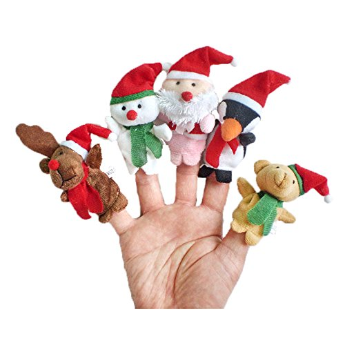 5 Pcs Finger Puppets Santa Claus Snowman Baby Stories Helper Dolls Toys Story Telling Props Tools Toy Model Babies Christmas Gift for Kids