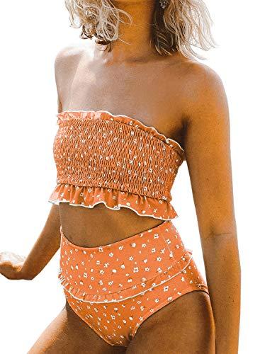 VECVOC Women's Floral Printed Ruffle High Waisted Bikini Set Pleated Bandeau Two Pieces Bathing Suits Orange
