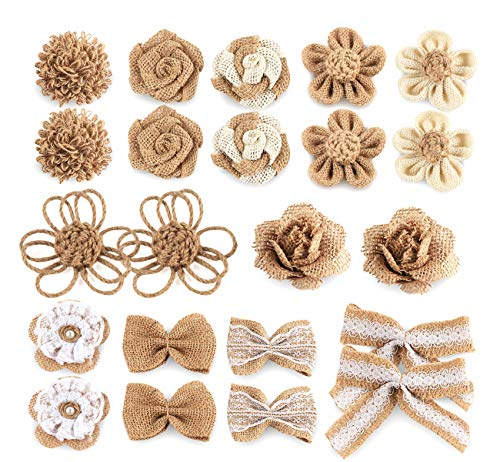 22Pcs Burlap Flowers Burlap Rose and Bow with Lace for Jar Bottle Wedding Craft Project Decoration