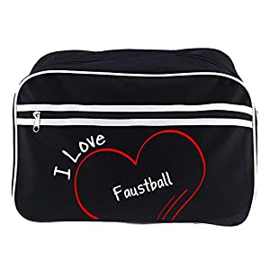 Retrotasche Modern I Love Faustball schwarz