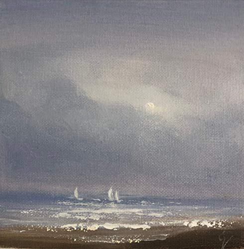 - Small Original Sailboat Oil Painting - Sailboats in the Mist 6x6