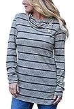 Women's Sweatshirts Long Sleeve Button Pullover Hoodies(Grey,Small)