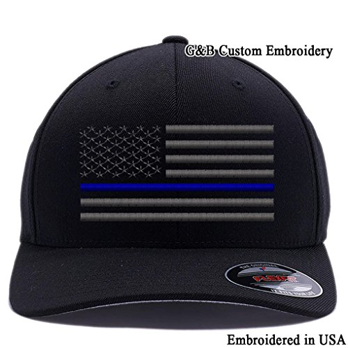 GB-Custom-Embroidery-Thin-Red-LineThin-Blue-Line-Thin-Red-Blue-Line-Flexfit-Baseball-Cap