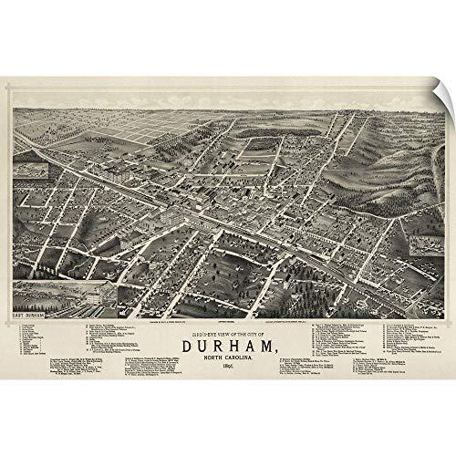 CANVAS ON DEMAND Vintage Birds Eye View Map of Durham, North Carolina Wall Peel Art Print, 48