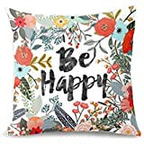 Aremazing Cotton Linen Home Decor Pillowcase Throw Pillow Cushion Cover 18 x 18 Inches Inspirational Quotes with Beautiful Flowers/Leaves (Be Happy)