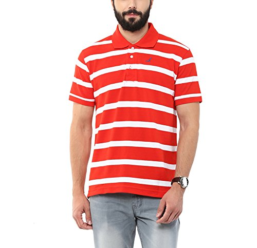 0162a22e978 AMERICAN CREW Men s Polo Collar Cotton Red   White Stripes T-Shirt - M (