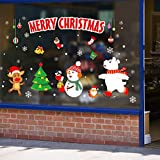 Sunm boutique Merry Christmas Window Clings Decal Snowman and Elk Wall Stickers Christmas Decorations Removable Art Decor DIY Christmas Wall Decal