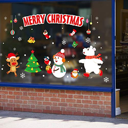 Sunm boutique Merry Christmas Window Clings Decal Snowman and Elk Wall Stickers Christmas Decorations Removable Art Decor DIY Christmas Wall Decal ()
