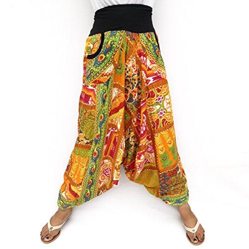Rayón Multicolor 2 bolsillos laterales cintura elástica y elástico tobillo Harem Pantalón