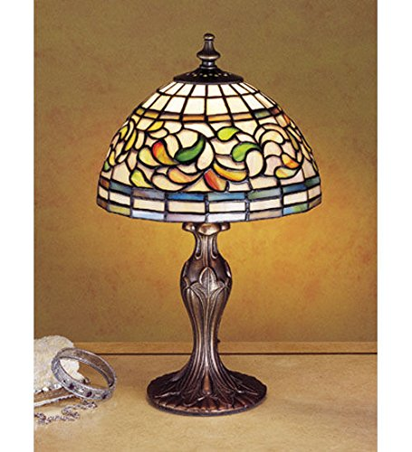 Tiffany Style Stained Glass Turning Leaf Mini Table Lamp Arrowhead Glass Table Lamp