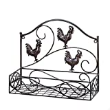 Accent Plus Charming Country Rooster Basket Wall Rack for House, Home, Kitchen, Room, Bedroom, Outdoor, Indoor and More