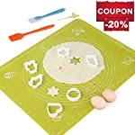 Silicone Baking Mats Pastry Mat - with Measurements BPA Free, Heat Resistant, Non Stick Pastry Board Rolling Dough Silicone Mat for Baking Bread Pizza Cookie Pie 8 PREMIUM QUALITY & FOOD SAFE: This silicone baking mats is made of FDA approved,100% food grade silicone, BPA free and no peculiar smell. Uomay baking mat can guaranty your food safe.Perfect cooking & baking accessories for any kitchen HEAT RESISTANCE & VERSATILITY MAT: This pastry mat Resists temperatures from -40°F to 450°F ,can be used in oven. Baking mats with measurements, scale in cm and inches. 15.7''*19.7''*0.05''Large Baking Mat Ideal for Kneading, Rolling, and Shaping Breads, cake, Pastry, Pie Crusts and fondants NON-STICK & EASY TO CLEAN: This non-stick baking mat will never tarnish, no more scrapping dough or fondant off the worktop when kneading or rolling on the mat.After your use,simply wash your pastry mat with warm soapy water or place in the dishwasher to clean