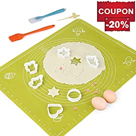 Silicone Baking Mats Pastry Mat - with Measurements BPA Free, Heat Resistant, Non Stick Pastry Board Rolling Dough Silicone Mat for Baking Bread Pizza Cookie Pie 3 PREMIUM QUALITY & FOOD SAFE: This silicone baking mats is made of FDA approved,100% food grade silicone, BPA free and no peculiar smell. Uomay baking mat can guaranty your food safe.Perfect cooking & baking accessories for any kitchen HEAT RESISTANCE & VERSATILITY MAT: This pastry mat Resists temperatures from -40°F to 450°F ,can be used in oven. Baking mats with measurements, scale in cm and inches. 15.7''*19.7''*0.05''Large Baking Mat Ideal for Kneading, Rolling, and Shaping Breads, cake, Pastry, Pie Crusts and fondants NON-STICK & EASY TO CLEAN: This non-stick baking mat will never tarnish, no more scrapping dough or fondant off the worktop when kneading or rolling on the mat.After your use,simply wash your pastry mat with warm soapy water or place in the dishwasher to clean