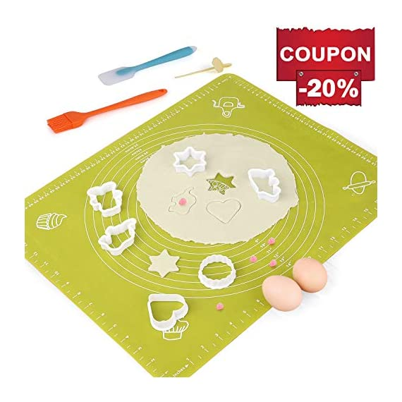 Silicone Baking Mats Pastry Mat - with Measurements BPA Free, Heat Resistant, Non Stick Pastry Board Rolling Dough Silicone Mat for Baking Bread Pizza Cookie Pie 1 PREMIUM QUALITY & FOOD SAFE: This silicone baking mats is made of FDA approved,100% food grade silicone, BPA free and no peculiar smell. Uomay baking mat can guaranty your food safe.Perfect cooking & baking accessories for any kitchen HEAT RESISTANCE & VERSATILITY MAT: This pastry mat Resists temperatures from -40°F to 450°F ,can be used in oven. Baking mats with measurements, scale in cm and inches. 15.7''*19.7''*0.05''Large Baking Mat Ideal for Kneading, Rolling, and Shaping Breads, cake, Pastry, Pie Crusts and fondants NON-STICK & EASY TO CLEAN: This non-stick baking mat will never tarnish, no more scrapping dough or fondant off the worktop when kneading or rolling on the mat.After your use,simply wash your pastry mat with warm soapy water or place in the dishwasher to clean