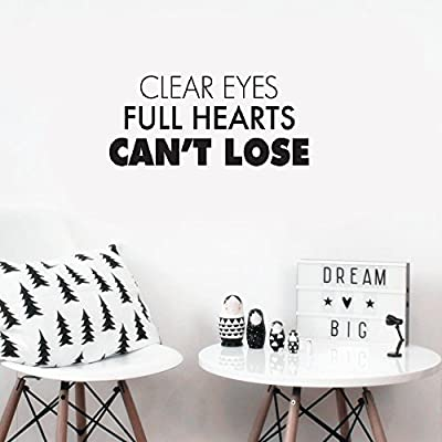 oniuv Wall Sticker Quote Wall Decal Funny Wallpaper Removable Vinyl Clear Eyes Full Hearts Can't Lose